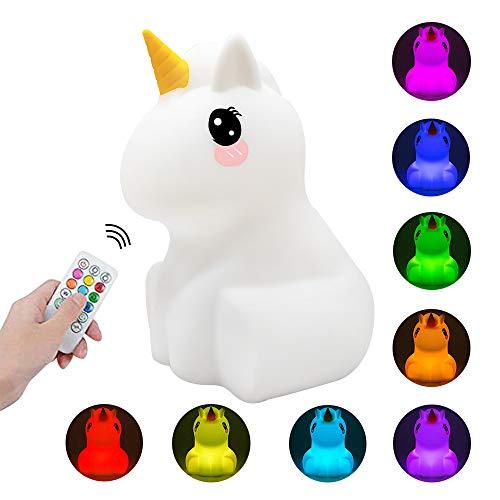 Kids Night Light Cute Unicorn LED Luz de silicona Lámpara de estado de ánimo con control remoto, Dormitorio recargable portátil Lámparas de noche para bebés Juguetes para niñas