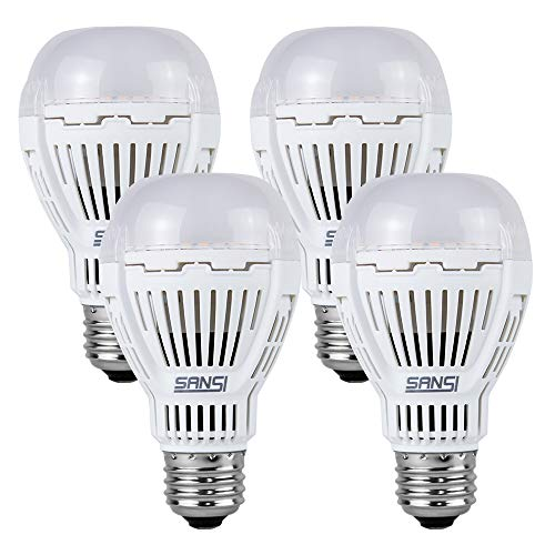 SANSI 100 Watt Equiv LED Light Bulb, 4 Pack 1600 Lumens A19 Light Bulb with Ceramic Technology, 5000K Daylight Non-Dimmable, 25,000 Hours Lifetime, Efficient Safety 13W Energy Saving for Home Lighting