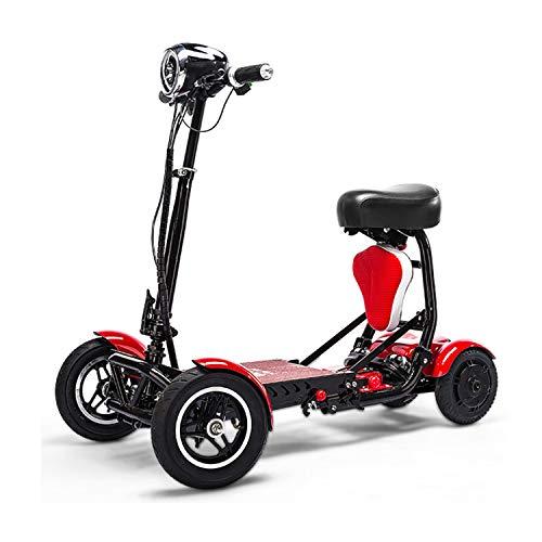 XYDDC Tragbare Mobilität Scooter Erwachsene/Ältere Freizeit Reisen Auto-Boot-Scooter 4-Rad Tragbare Mobility Scooter 10AH Batterien Reichweite 30KM,Rot