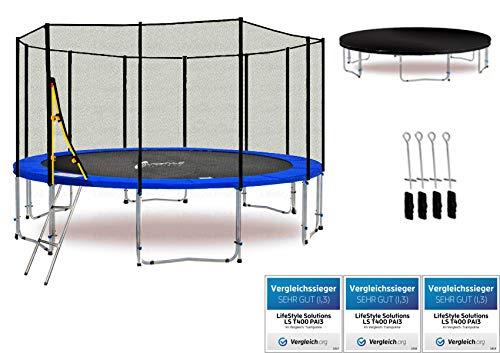 LifeStyle ProAktiv LS-T400-PA13 (BD) Deluxe Trampolino da Giardino 400cm - incl. Rete di Sicurezza 140g/m² - New