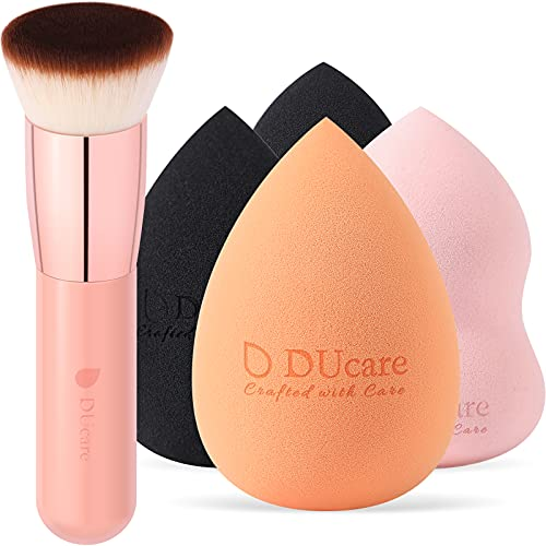 DUcare Makeup Sponges with Foundation Brush 4+1Pcs Flat Top Kabuki Professional Beauty Makeup Blender for Cream, Powder and Liquid - Non Latex