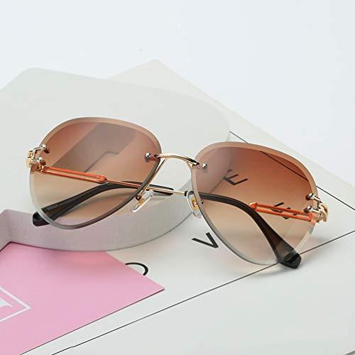 Gafas de Sol sin Montura para Mujer, gradientes, Lentes de Corte, para Mujer, sin Marco, anteojos de Metal, UV 400, Vintage, Redondo (marrón Degradado)