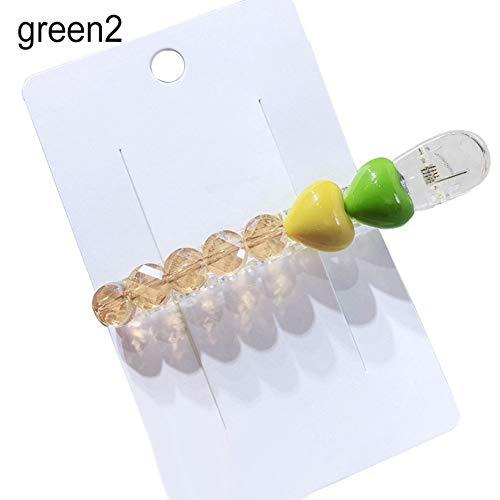 Goodluvk28 Épingle à Cheveux pour Femme en Acrylique Transparent avec Perles en Forme de cœur Taille Unique Vert 2
