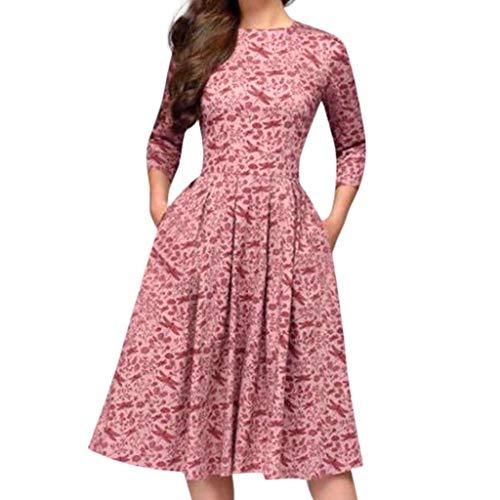iHENGH Damen Frühling Sommer Rock Bequem Lässig Mode Kleider Frauen Röcke Elegent A-Linie Vintage Druck Party Vestidos Kleid(Rosa, 3XL)