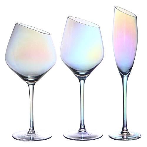 Boca Oblicua Cristal Sin Plomo Copa De Vino Tinto Copa De Cristal Para El Hogar 3 Piezas 400 Ml Conjunto de 3 coloridos Vistoso