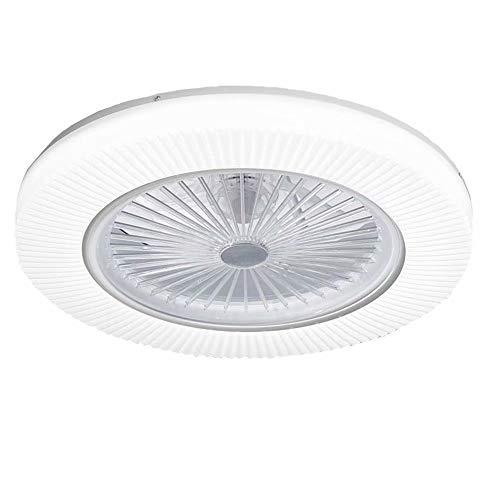 Ventilador de techo, luz de techo led con ventilador invisible, lámpara de araña redonda atmosférica, control remoto regulable, ventilador de techo invisible creativo, 21.6 pulgadas