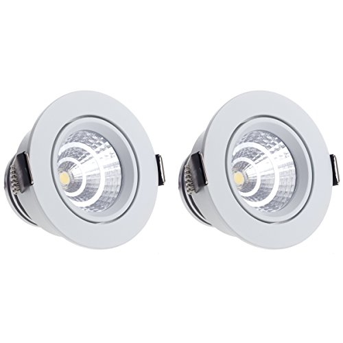 Sensati klein exclusief design LED inbouwlamp downlight spot set van 2 stuks, draaibaar, dimbaar 544 lm, inclusief drivers, kleur behuizing wit, koudwit T105 2 CW W