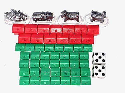 Monopoly Zubehör Set mit 35x Häusern, 12x Hotels, 2X Würfel, 4X Figuren für myMonopoly