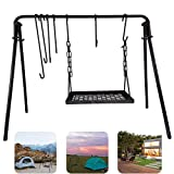 Swing Grill Campfire Cooking Stand BBQ Carbon Steel with Hooks for Campfire & Outdoor Picnic Cookware Party & Dutch Oven Adjustable Height (Black)
