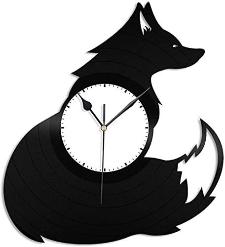 XYVXJ Fox 3D Reloj de Pared Vinilo Reloj de Pared Reloj de Registro Arte de la Pared decoración de la habitación única Regalos Hechos a Mano