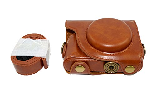 PU Leather Case for Canon PowerShot G9X, G9 X Mark II Mark 2 Protective Camera Bag with Shoulder Neck Strap Belt Brown