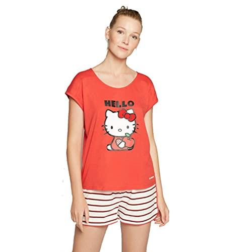 GISELA Pijama de Mujer de Hello Kitty Verano 2/1785 - Rojo, L