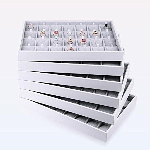 Oirlv Velvet Stackable Jewelry Tray Necklace Pendant Organizer Display Showcase Jewelry Storage Trays