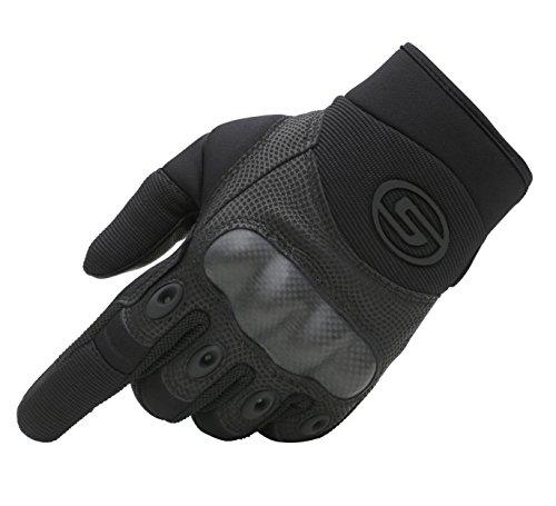Seibertron Motorrad Handschuhe Herren Vollfinger Army Taktische Gloves Ideal für Airsoft, Militär,Paintball,Airsoft (Schwarz,XL)