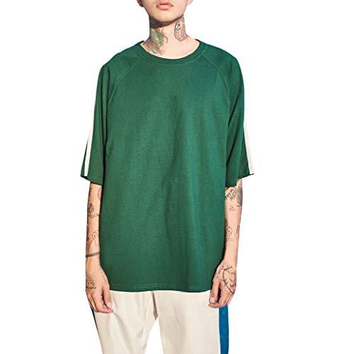 T-Shirt Herren Sommer Lässige Patchwork Pullover KurzarmTop Bluse Trainingsshirt Outdoor Sweatshirt Jogging Trikot Fitness Top Oberteile Grün Shirt