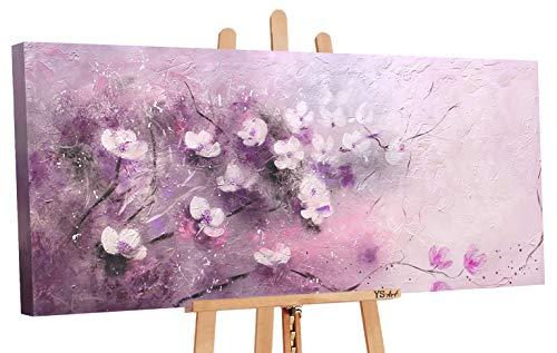 YS-Art | Acryl Gemälde Zärtlichkeit | Handgemalte Leinwand Bilder | 115x50cm | Wandbild Acrylgemälde | Moderne Kunst | Leinwand | Unikat | Violett