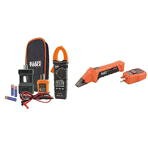 Klein Tools CL110KIT Electrical Tester/Maintenance Kit w/Clamp Meter, 3 x AAA & Digital Circuit Breaker Finder with GFCI Outlet Tester ET310