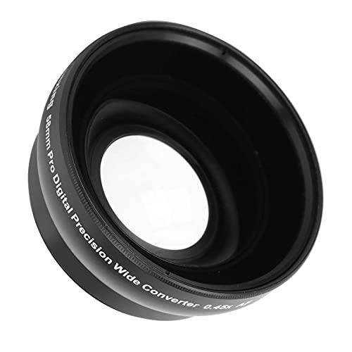 Zunate Lente de cámara, Lente Gran Angular de 58 mm 0.45x con Bolsa de Almacenamiento, Lente Gran Angular de Metal Universal para Lente de cámara de 58 mm y Filtro de 67 mm