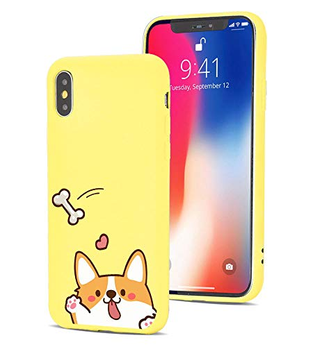 MAYCARI Cute Corgi Dog Case for iPhone XR, Cartoon Animal Pattern Liquid Silicone Soft Rubber Protective Funny Puppy Dog Trendy Hipster Adorable Case (with Soft Microfiber Lining) for Women Girls