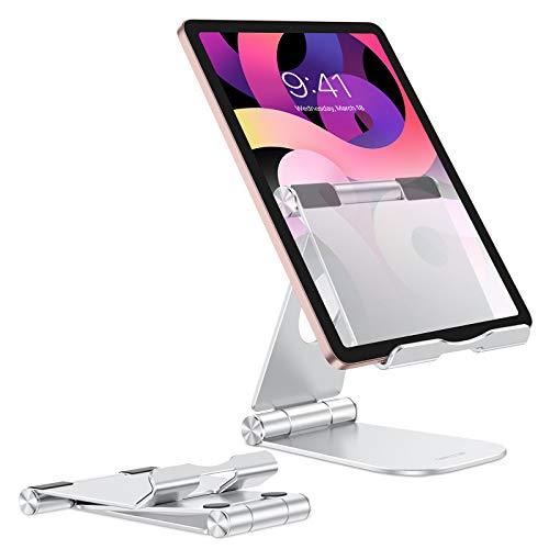 OMOTON Supporto Tablet Pieghevole, Porta Tablet in Alluminio, Stand Tablet da Tavolo, Dock Regolabile da Scrivania, Accessori per nuovo iPad (10.2), iPad Air/Pro/Mini, Samsung Tab, Telefono, Argento