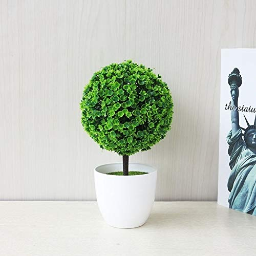 WEIHONG Fleurs séchées Bureau Plant Simulation Mini Herbe Boule Bonsai Décorée en plastique fleur de fleurs de cerisier Boule de neige Fleurs artificielles (vert) WEIHONG (Color : Green)