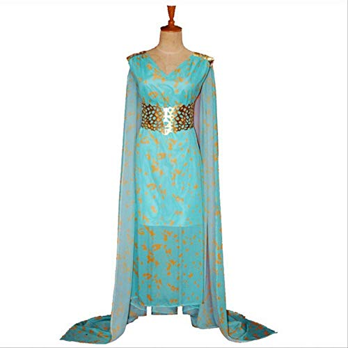 WSJDE Una cancin de Hielo y Fuego Juego de Tronos Daenerys Targaryen Cospaly Dress/Daenerys Targaryen Disfraz de Halloween Adulto S Sky Blue