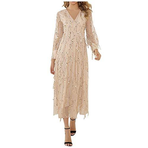 YEBIRAL Damen Elegant Abendkleid Lange Glitzer Paillettenkleid Ballkleid Partykleid Brautjungfer Hochzeit Sexy Langarm Maxikleid Festliche Kleider