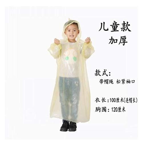 Mouwen 100% waterdicht,Geïntegreerde transparante draagbare regenjas, noodponcho-geel dik kinderen_10,herbruikbare doorzichtige regenjas met capuchon en mouwen