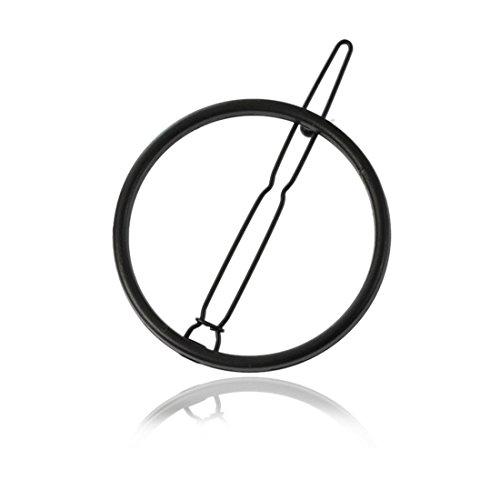 D&D-Joyería Clips Pelo/Horquillas/para El Pelo Doradas/Clips para El Pelo/Europeos y Americanos de Metal Adornos geométricos Simples Circular Horquilla Horquilla,3,5 cm,Black
