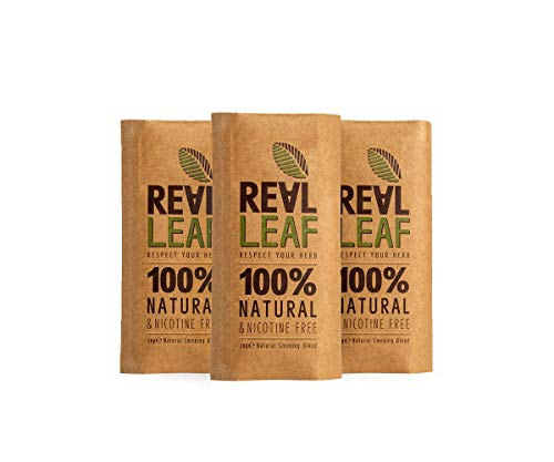 3 X Organic Herbal Natural Smoking Mixture, 100% Nicotine & Tobacco Free, Rich, Aromatic, Delicate Aroma and Smooth natural taste 3 PACKS Real Leaf Tobacco Substitute, 90g Total