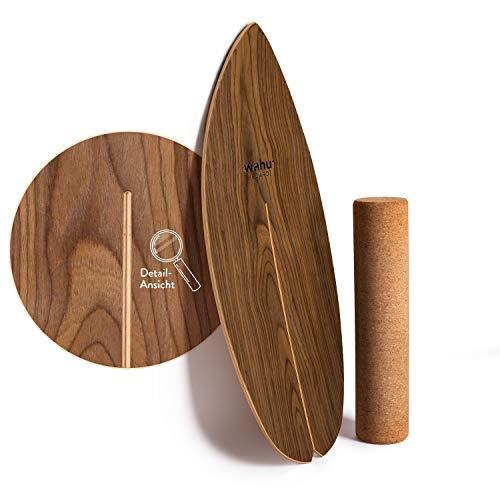 WAHU - Tabla de equilibrio (marrón) – Tabla de truco con exclusivo rodillo Rocka Shape Ink. – Entrenador de equilibrio (100% madera)   Tabla de equilibrio para interiores