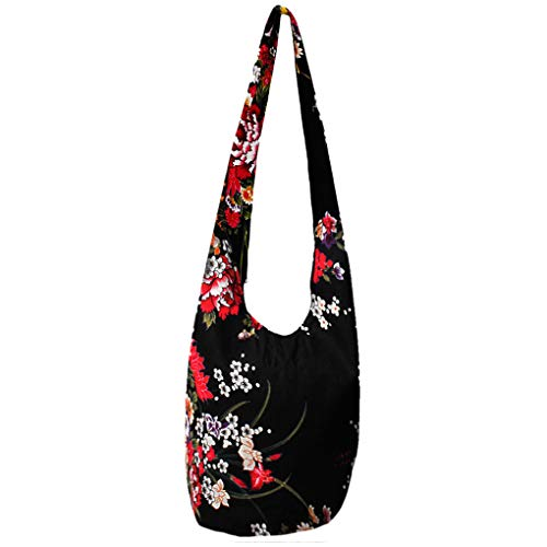 WITERY Women's Cotton Sling Crossbody Shoulder Bag-Handmade Large Hippie Bags with Zippered Closure, Ethnic Style Hobo Bag for Women Boho Tote Bag for Everyday/Beach/Outdoor Activities