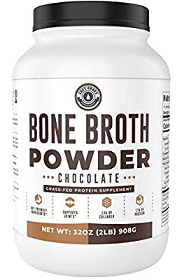 Bone Broth Protein Powder, Chocolate, Grass Fed [2lbs/ 42 servings] 17g protein, 13g Collagen. Low Carb (1 net Carb) Dairy Free, Keto Friendly Bone Broth Protein Supplement with Collagen Types I & III