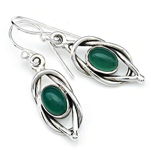 Pendientes de plata 925 con ónix verde (No: MOH 142-14)