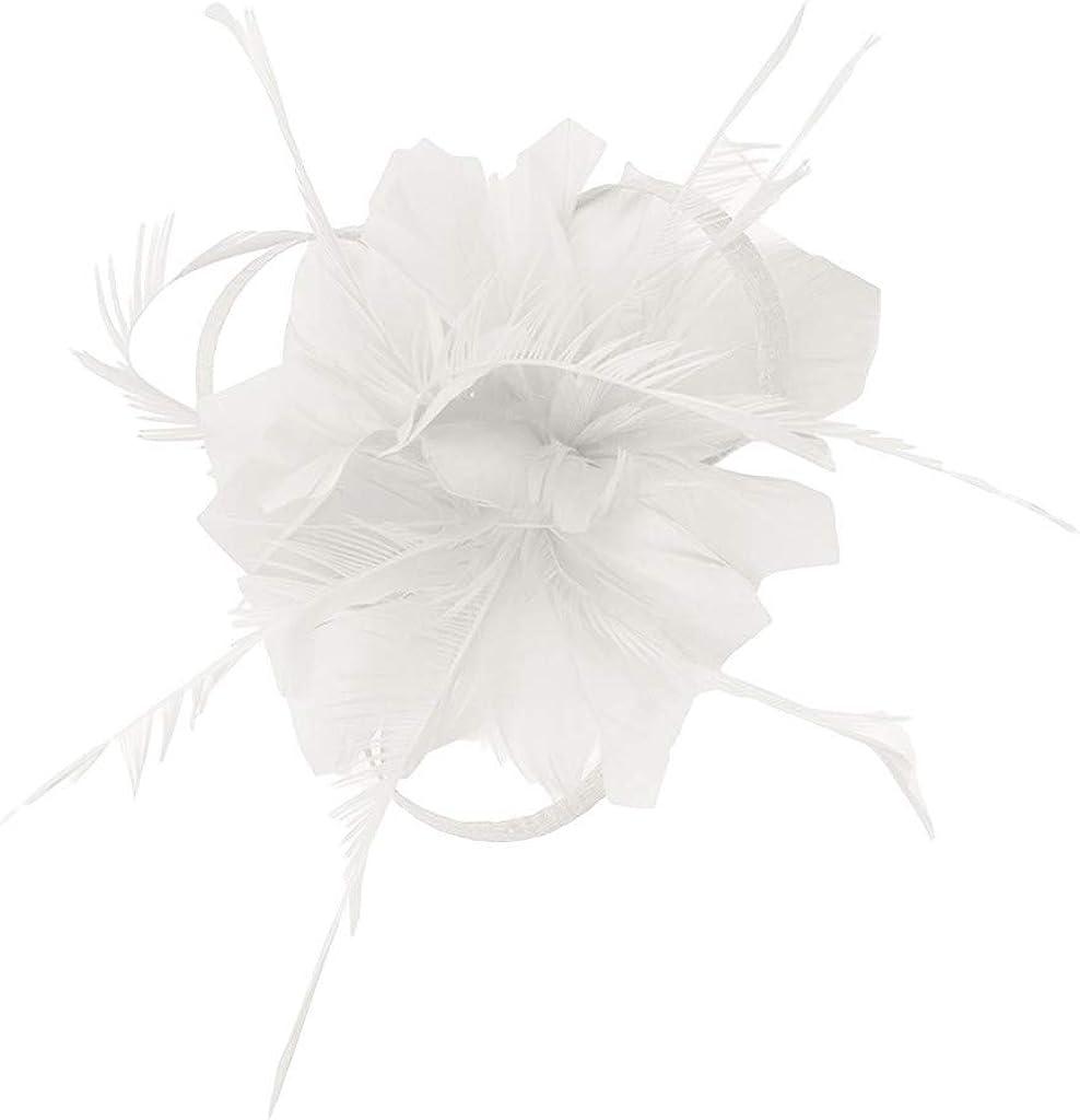 BCDlily Flower Feather Fascinators Hat Women Tea Party Kentucky Derby Wedding Cocktail Clip Headpiece