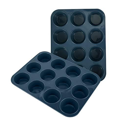 SUPER KITCHEN Molde de Silicona Grande para 12 Magdalenas, Juego de 2 Bandejas para Hornear Muffin con Recubrimiento Antiadherente para Muffins, Cupcake, Brownie, Budín 33 x 25x 3 cm (Gris)