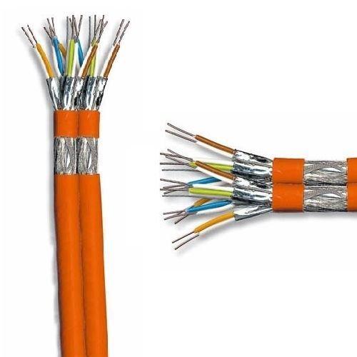 E SCENetwork Duplex Verlegekabel Cat7 25m, orange, Netzwerk Kabel Cat.7 25m Installationskabel KAT7 Netzwerkkabel 1000Mhz 10 Gigabit zum Anschluss an Netzwerkdosen, Patchpanels und Modulen