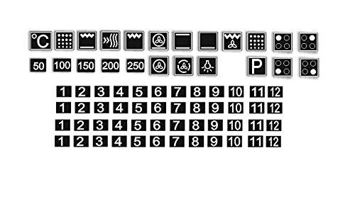 Generisch Juego de pegatinas para horno, diseño de símbolos blancos sobre fondo negro (R74/1) (14 x 14 mm)