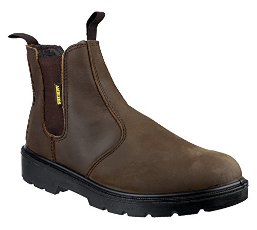 Amblers Steel Slip-On Textile Lined Mens Boots - Brown - Size 4