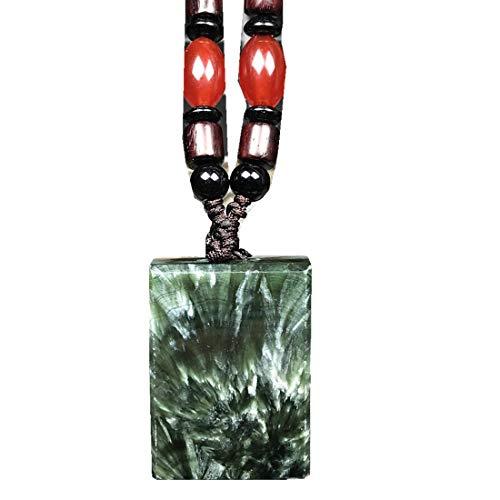DUOVEKT Collar con colgante de serafinita verde natural, piedra de cristal de serafinita para mujeres y hombres de 34 x 24 x 8 mm, cuentas de plata rectangular, joyería de ágata AAAAAAA.