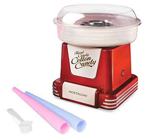 Nostalgia PCM805RETRORED Retro Hard & Sugar Free Cotton Candy Maker, Red