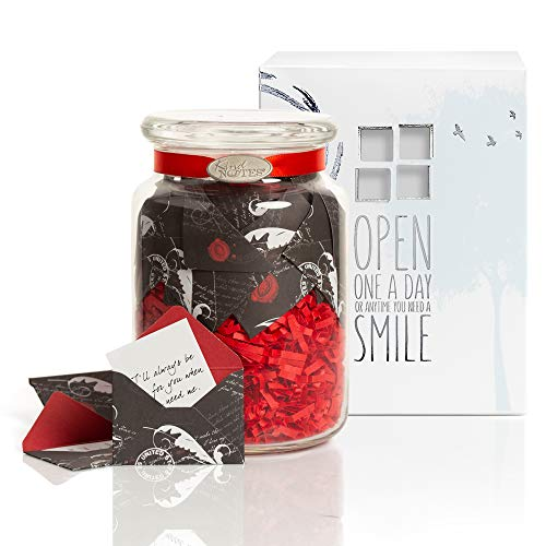 KindNotes Glass Keepsake Gift Jar with Long Distance Missing You Messages (for Couples) - Romantic Scripts