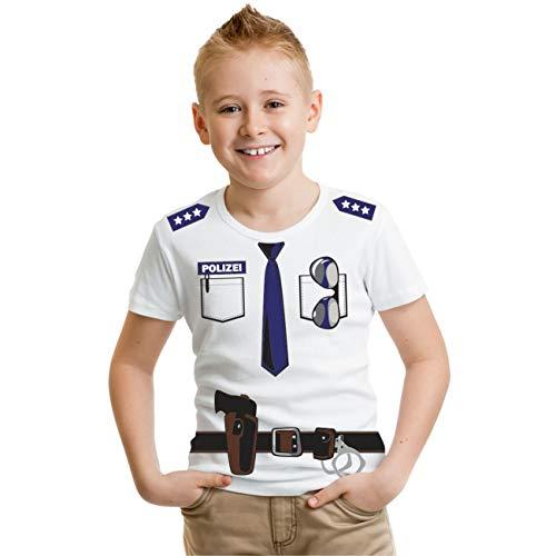 Kinder T-Shirt Polizei Fasching Kostüm Größe 86-164