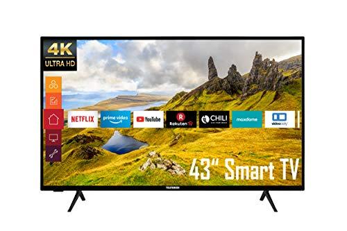 Telefunken XU43K521 43 Zoll Fernseher (Smart TV inkl. Prime Video / Netflix / YouTube, 4K UHD, HDR, HD+), Schwarz