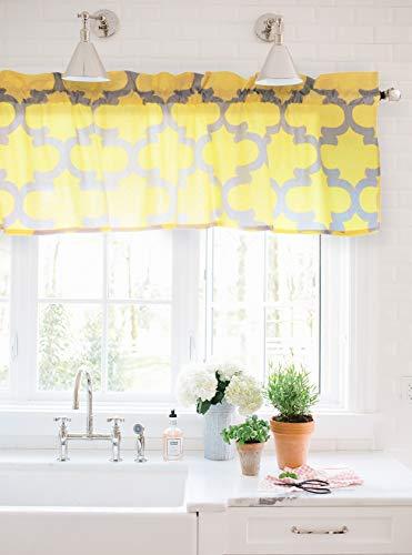 Crabtree Collection Kitchen Window Valances Kitchen Curtains Yellow Gray Trellis Window Valance Curtains (16x60)