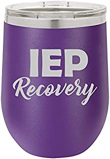12 oz Double Wall Vacuum Insulated Stainless Steel Stemless Wine Tumbler Glass Coffee Travel Mug With Lid IEP Recovery Special Education Teacher (Purple)