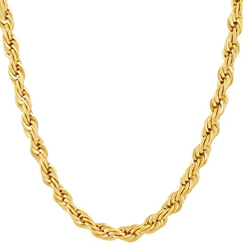 Lifetime Jewelry 6MM Rope Chain, 24K Gold with Inlaid Bronze, Premium Fashion Jewelry, Pendant Necklace Made to Wear Alone or with Pendants, Guaranteed for Life, 22 Inches