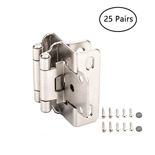 Home Master Hardware 1/2 inch Self Closing Partial Wrap Cabinet Hinges 25 Pair (50 Pcs) for Variable Kitchen Bathroom Cabinet Doors (Satin Nickel)