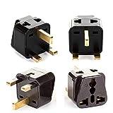 UK, Hong Kong Travel Adapter Plug, OREI Adaptor 2 in 1, For Botswana, England, UAE, Dubai - Safe Grounded Connection - Universal Socket - 4 Pack