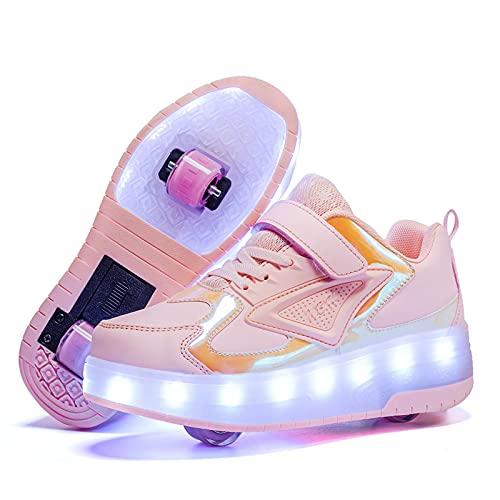 WXHXSRJ Zapatos de Patinaje sobre Ruedas LED para niños, Zapatos de Skate técnicos retráctiles automáticos en línea, Recarga USB, con Ruedas Dobles, Regalo del día de los niños,Rosado,33